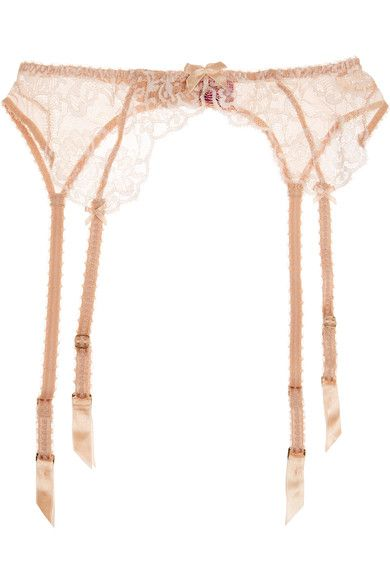 L'Agent by Agent Provocateur - Angelica Lace And Stretch-tulle Suspender Belt - Blush - x large