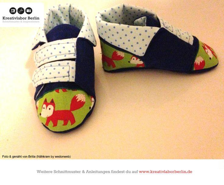Kinderschuhe mit Klettverschluss, zum Schnittmuster: http://www.kreativlaborberlin.de/naehanleitungen-schnittmuster/kinderschuhe-mit-klettverschluss-groesse-20-bis-30/