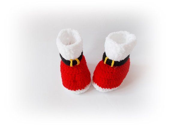 ae6859b533f26 Christmas baby boots shoes Santa baby boots, Crochet baby booties ...
