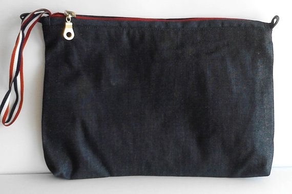 denim soft cotton fabric zippered clutch by creatingbyVilly