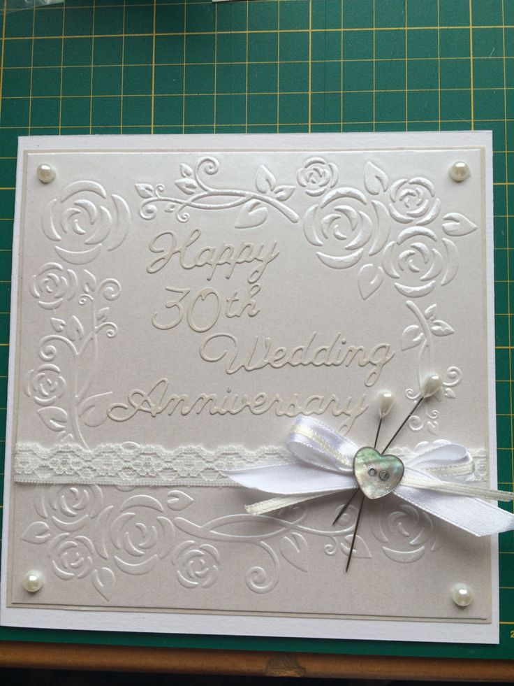 Handmade 30th Wedding Anniversary Card - Britannia Dies ...