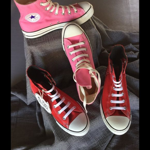 Pink High tops Converse 6 Eur 38.5 PINK HIGH TOPS CONVERSE SIZE 8. Brand new . I think the high tops run bigger.😎 Converse Shoes