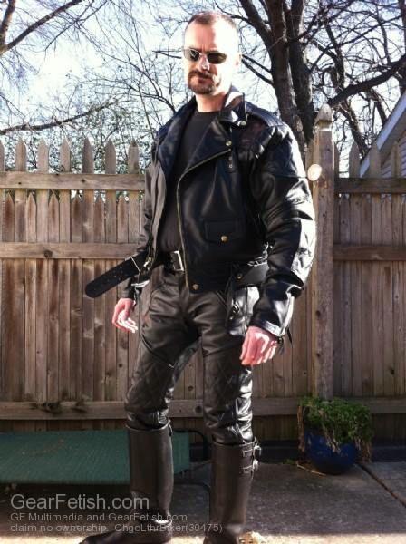 Leder gay jeans biker