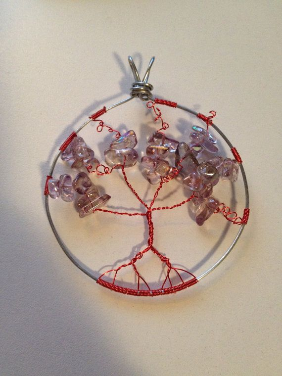 Twisted Red Tree of Life Pendant by BeyondtheWire on Etsy, $21.52