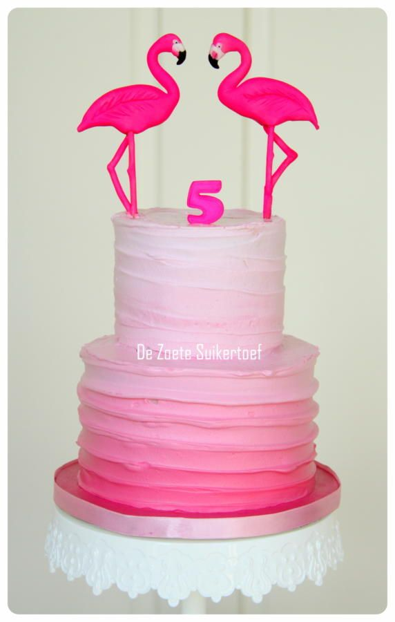 Flamingo cake... - Cake by De Zoete Suikertoef