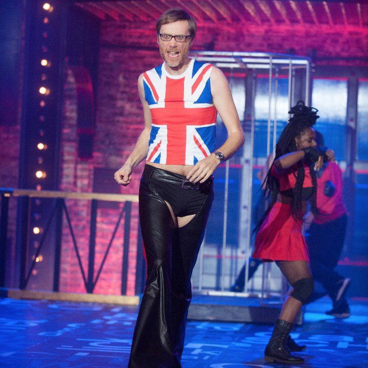 "Pin for Later: Stephen Merchant Wears Leather Chaps While Singing Christina Aguilera's ""Dirrty"" on Lip Sync Battle"