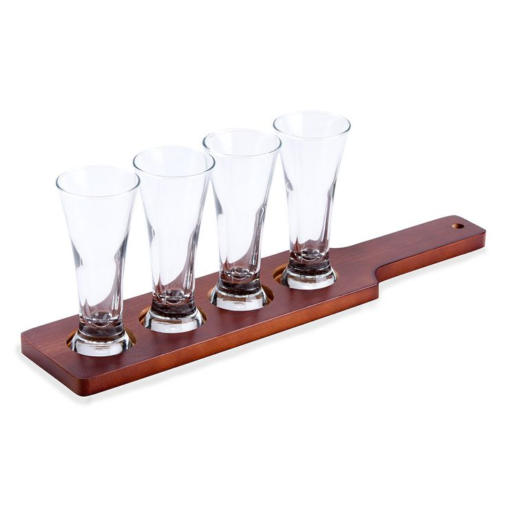 Libbey Craft Brews Beer Flight - 4 Glass Set with Red Brown Wood Paddle
