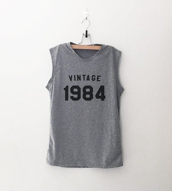 Vintage 1984 34th Birthday Shirts For Women Muscle Tank Top Gift Workout With Numbers
