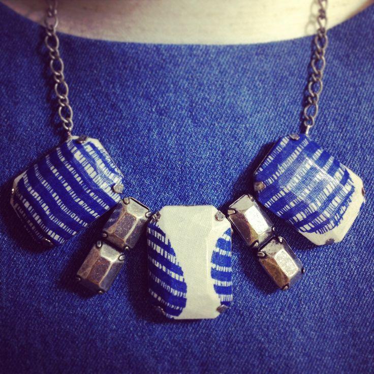 old bracelet, scrap fabric = new necklace :) #handmade #craft