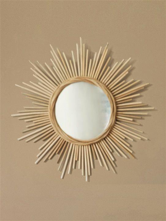 Miroir soleil rotin rotin euro for Miroir rond ikea