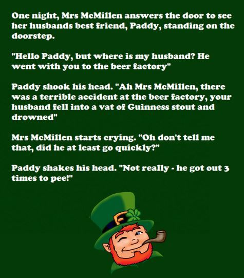 St Patrick's Day Irish Jokes, Limericks, Riddles, One-Liners, Short clean Irish Stories, Questions-Answers