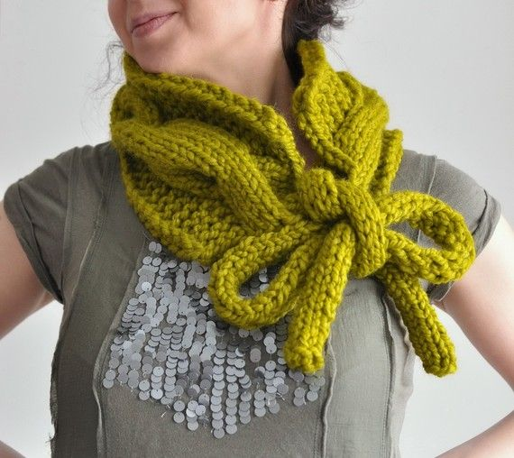 Twist Me Around - handknit superchunky cabled neckwarmer / scarf / collar / cowl / wrap with long drawstrings in color of your choice