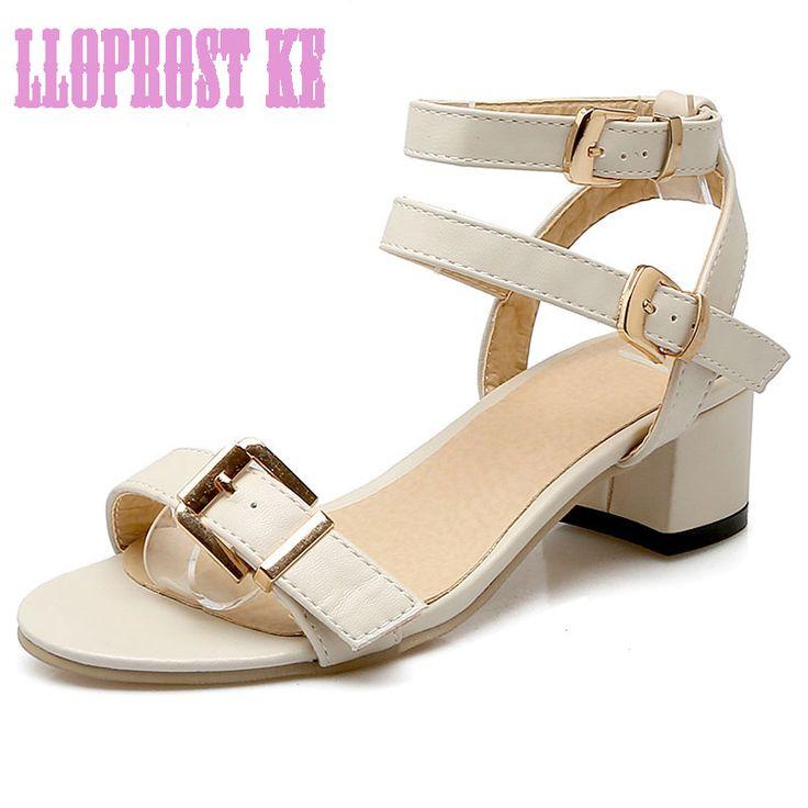 LLOPROST KE Women sandals women Summer shoes peep-toe Roman sandals mujer sandalias Ladies Flip Flops Sandal Buckle DXJ2092