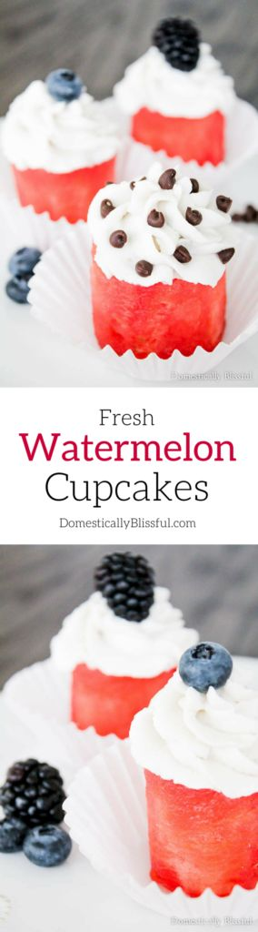 Fresh Watermelon Cupcakes are a perfectly cool & healthy way to turn fruit into dessert!