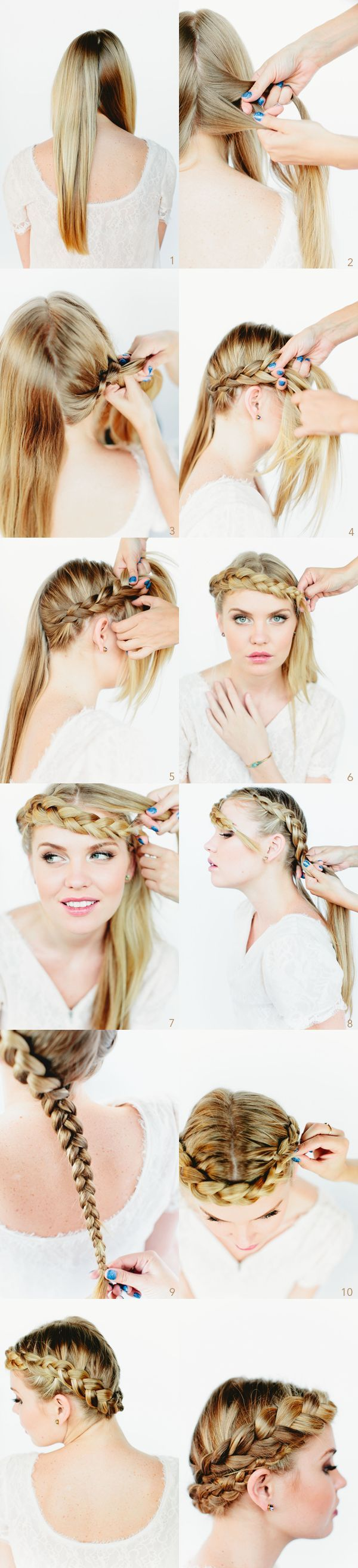 Gorgeous crown braids – Tutorial by Once Wed