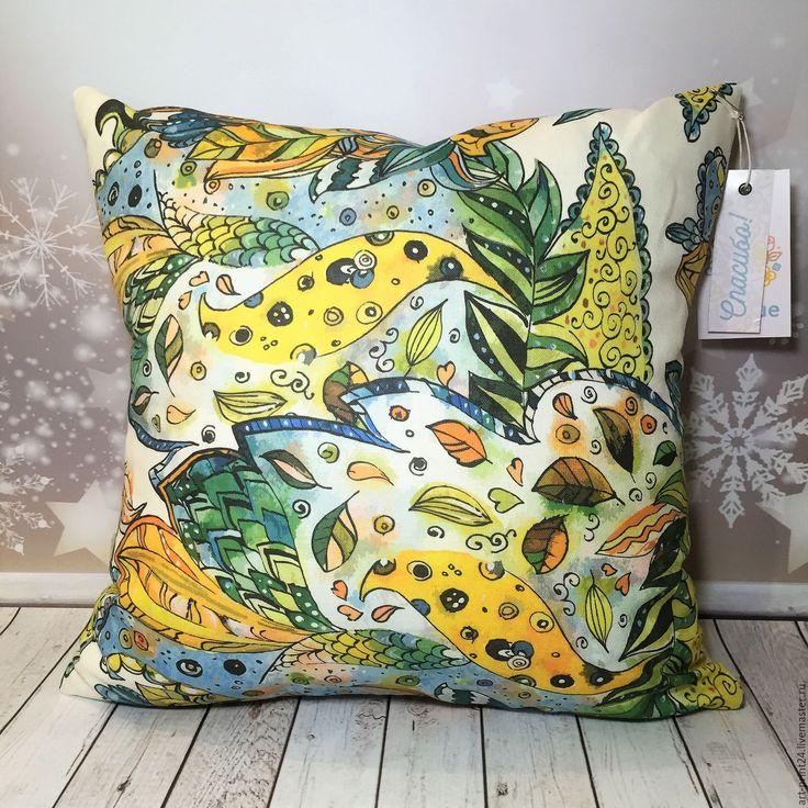 """Купить Подушка декоративная, серия """"Волшебные цветы"""" - комбинированный, Подушки, подушки декоративные, подушки диванные"""