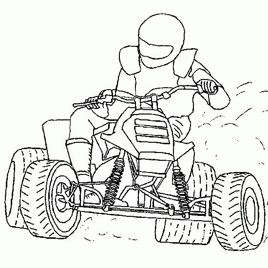 motorcycle coloring pages | sport coloring - quad, skid