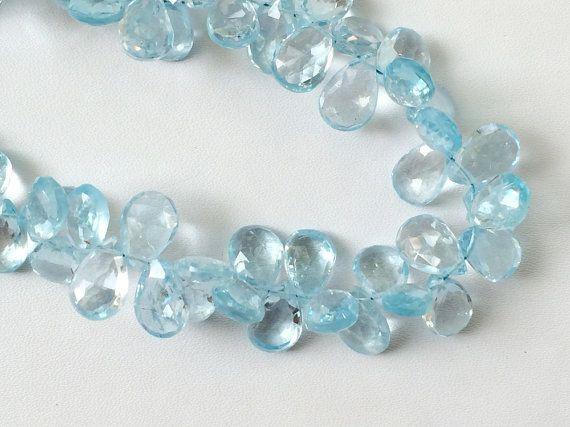 Blue Topaz Beads Blue Topaz Faceted Pear Original by gemsforjewels