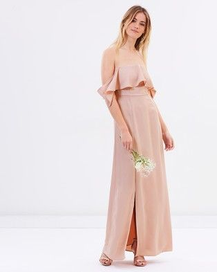 Atmos & Here – Aurora Off Shoulder Maxi Dress – Bridesmaid Dresses Nude Pink