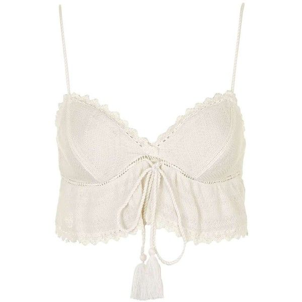 Topshop Knitted Crochet Bralet (£22) ❤ liked on Polyvore featuring tops, white bralet top, white bralette tops, strappy top, white crochet top and bralette tops