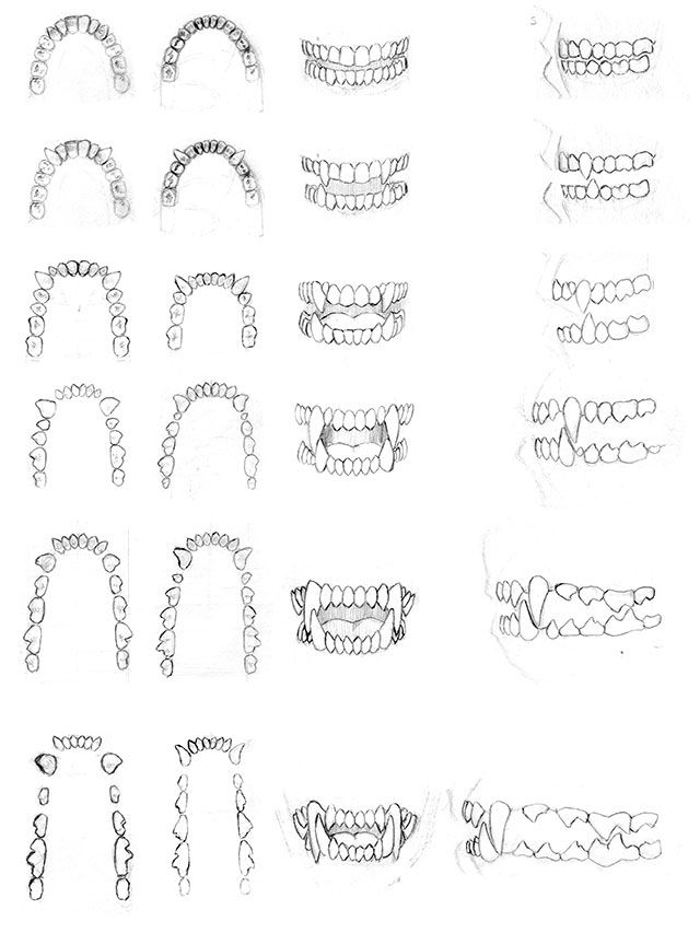 Teeth Studies - 2002 by dirktiede [http://dirktiede.deviantart.com/gallery/24818427/Werewolf-Sketchbook]