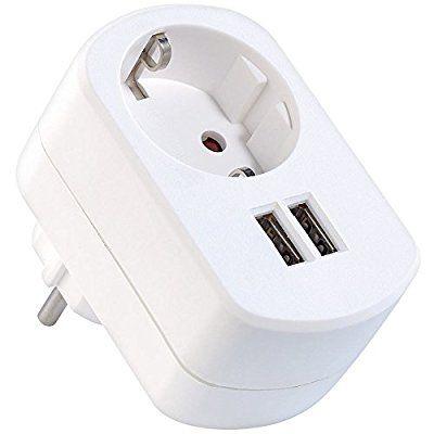 revolt 2in1-Steckdose mit 2-fach-USB-Netzteil, max. 3 A, Kindersicherung