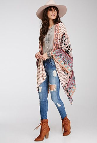 Abstract Print Embroidered Kimono   FOREVER21 - 2000115325