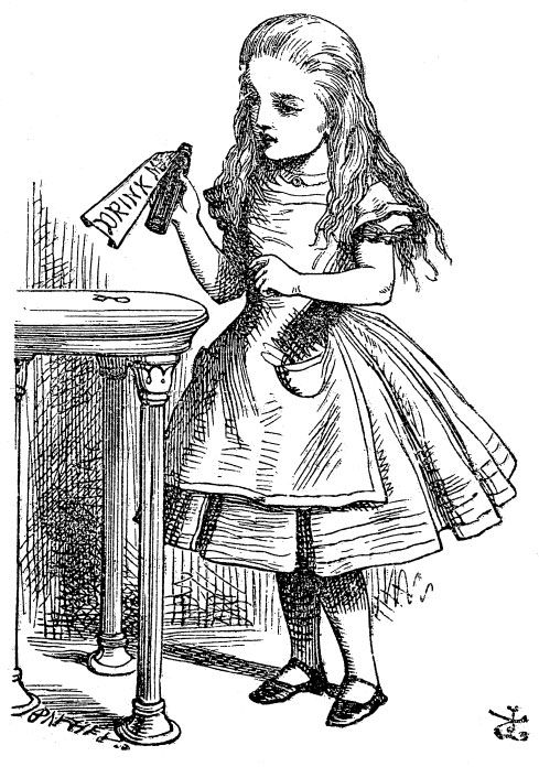 """Drink Me"" bottle from Lewis Carroll's ""Alice's Adventures in Wonderland."" Illustration by artist John Tenniel."