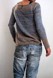 combined linen cobweb and a fantastic lace weight dyed by Michaela  love the texture and the marbled colors!!!  nothing fancy   boat neck  buttoned back (neck)  stripes (how extra ordinary…. ...