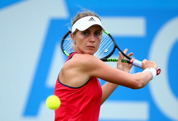 Laura Deigman of Great Britain plays a during her match against Destanee Aiava of Australia during day one of Qualifying of the Aegon Open at Nottingham Tennis Centre on June 10, 2017 in Nottingham, England.