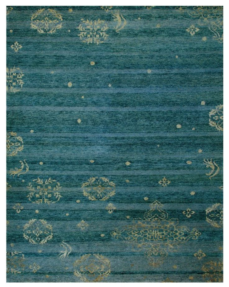 Yuan Collection Wool and Art Silk Area Rug in Teal by BD Fine