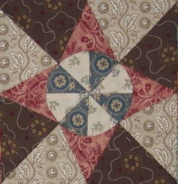 Boston (Massachusetts) Quilt Block Barbara Brackman Civil War Quilt browns and pinks