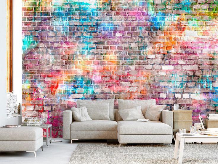 Qui a dit que la brique devait être rouge ou blanche ? Une texture colorée du papier peint moderne soulignera le style urbain de chaque intérieur ! #papierpeint #papierspeints #brique #streetart #urbain #coloré #moderne #bimago