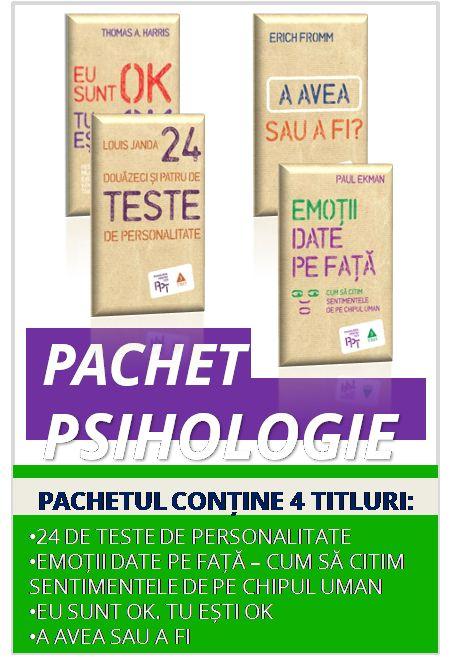 Pachetul Psihologie conține: 1. 24 de teste de personalitate 2. Emoții date pe față - Cum să citim chipul uman 3. Eu sunt OK Tu ești OK 4. A avea sau A fi