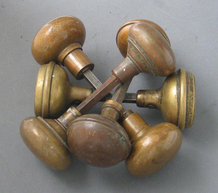 Antique Plain Brass and Bronze Door Knob Pairs