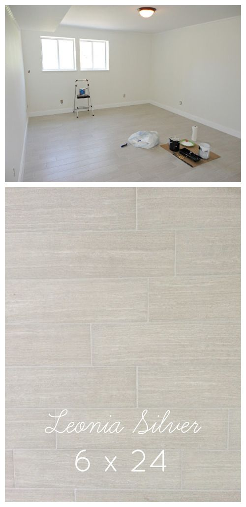 """Leonia Silver wood plank tile from Lowe's in the 6x24""""(Common: 6-in x 24-in; Actual: 5.75-in x 23.75-in). Item #: 486467 