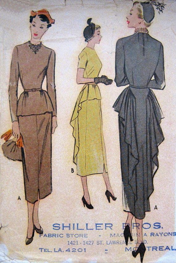 Vintage 1940s Dress Pattern Dramatic Swan Draping Slim Front with Peplum Evening Gala Theatre Cocktail McCalls 7881 Bust 36 Full Figure