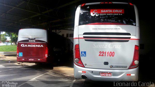 Ônibus da empresa Viação Santa Cruz, carro 221100, carroceria Marcopolo Paradiso G7 1050, chassi Scania K340. Foto na cidade de Guaxupé-MG por Leonardo Carola, publicada em 04/11/2016 13:19:18.