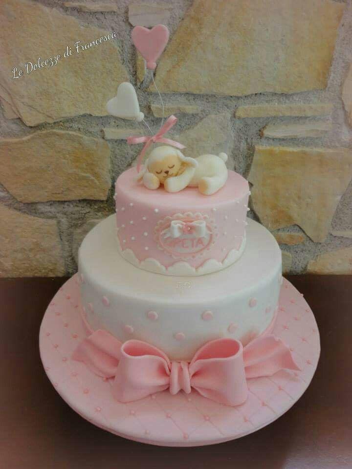Torta Battesimo bimba pecorella