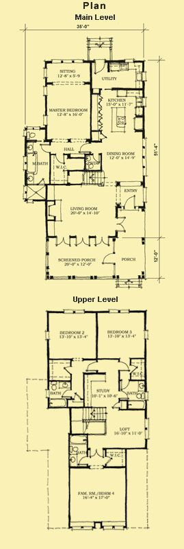 Beach Home Plans, Narrow Lot Floor Plans & 4 Bedroom House Plans
