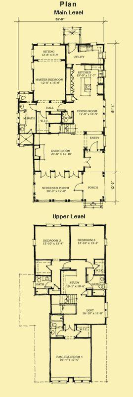 Best 25 narrow lot house plans ideas on pinterest for Narrow lot 4 bedroom house plans
