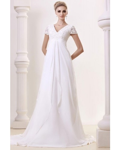 A modest style with empire waist, perfect for wedding dress for pregnant brides - style code: WD-0288 | www.lynnbridal.com