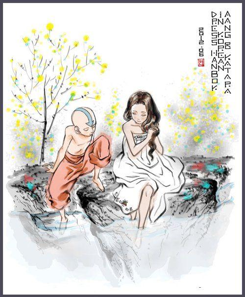 """Avatar: The Last Airbender"" fan art - Avatar Aang and Katara. Le dernier maître de l'air"