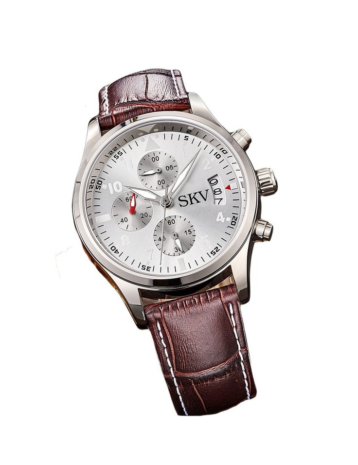 Sisistore Mens Chronograph Sports Quartz Wrist Watch with High Abrasion Proof and Leather Watch White