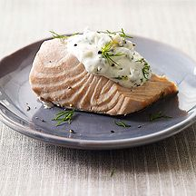 Weight Watchers recipe. Sounds so good! Cold Poached Salmon with Caper-Mayonnaise