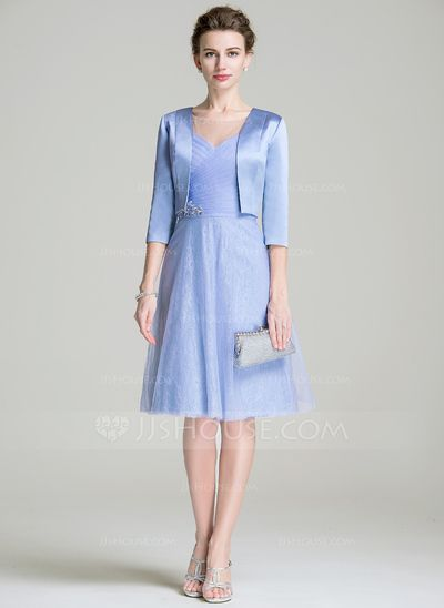 A-Line/Princess Scoop Neck Knee-Length Tulle Mother of the Bride Dress With Ruffle Beading Sequins (008072692)