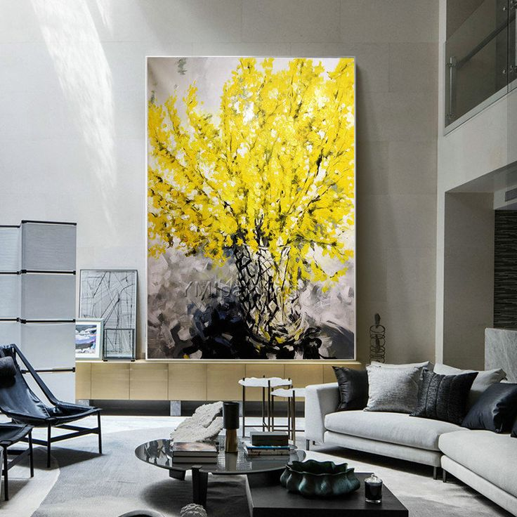 abstract yellow flower acrylic painting on canvas heavy on modern acrylic paintings for living room id=41554