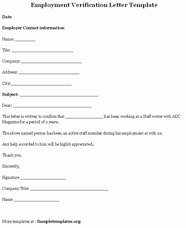 Free Employment Verification Form Template Awesome Free Printable Letter Employment Verification For In 2020 Letter Of Employment Letter Template Word Letter Templates