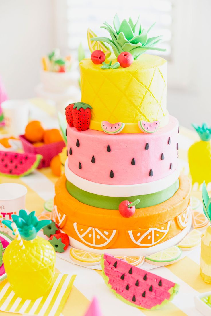 Fruity Birthday Cake! Pineapple, Watermelon, Orange Birthday Party Cake   – Themed Birthday Parties