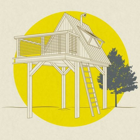 BLUEPRINT at www.menshealth.com/best-life/treehouse  No tree? No problem. Put the house on stilts & trick it out w/ add-ons. David Stiles (stilesdesigns.com), author of the new book Forts for Kids, created a customized, Men's Health–approved stilt house. So start sawing & make your kid the neighborhood hero (though the other dads may hate you).